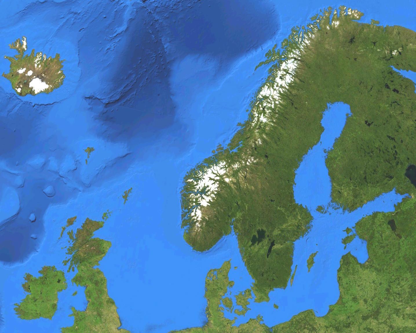 Norvegia Harta Prin Satelit Harta Norvegiei Prin Satelit Europa