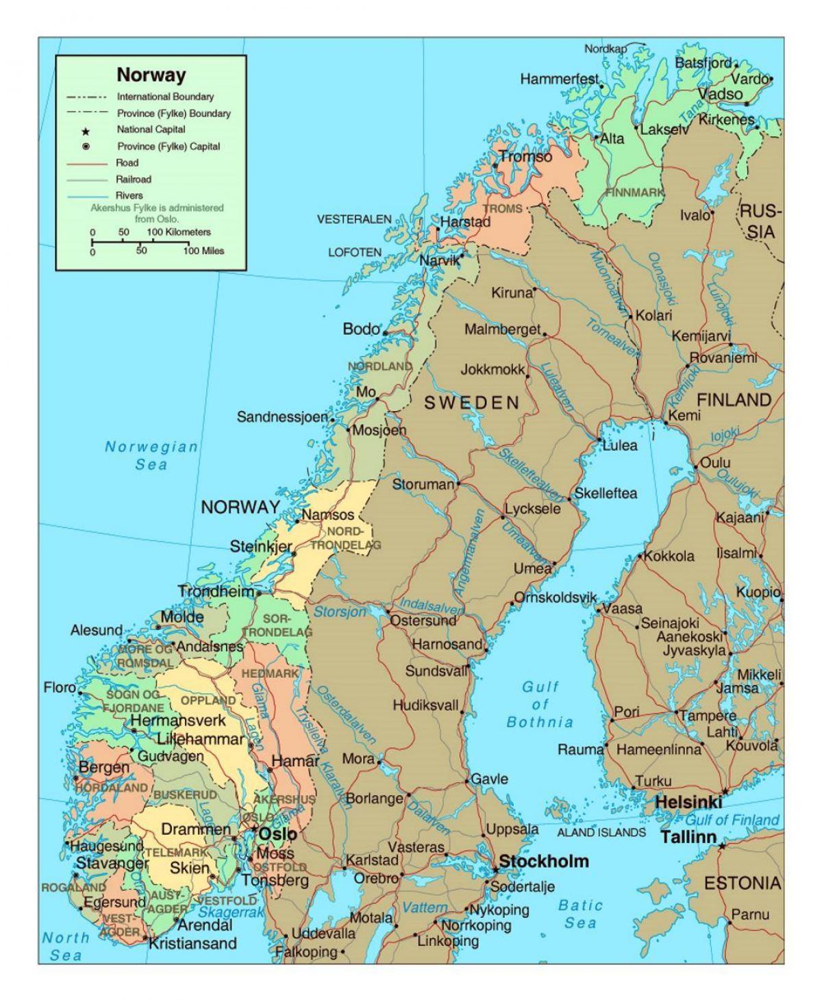 Harta Norvegia Harta Rutieră A Norvegiei Cu Orașe Europa De
