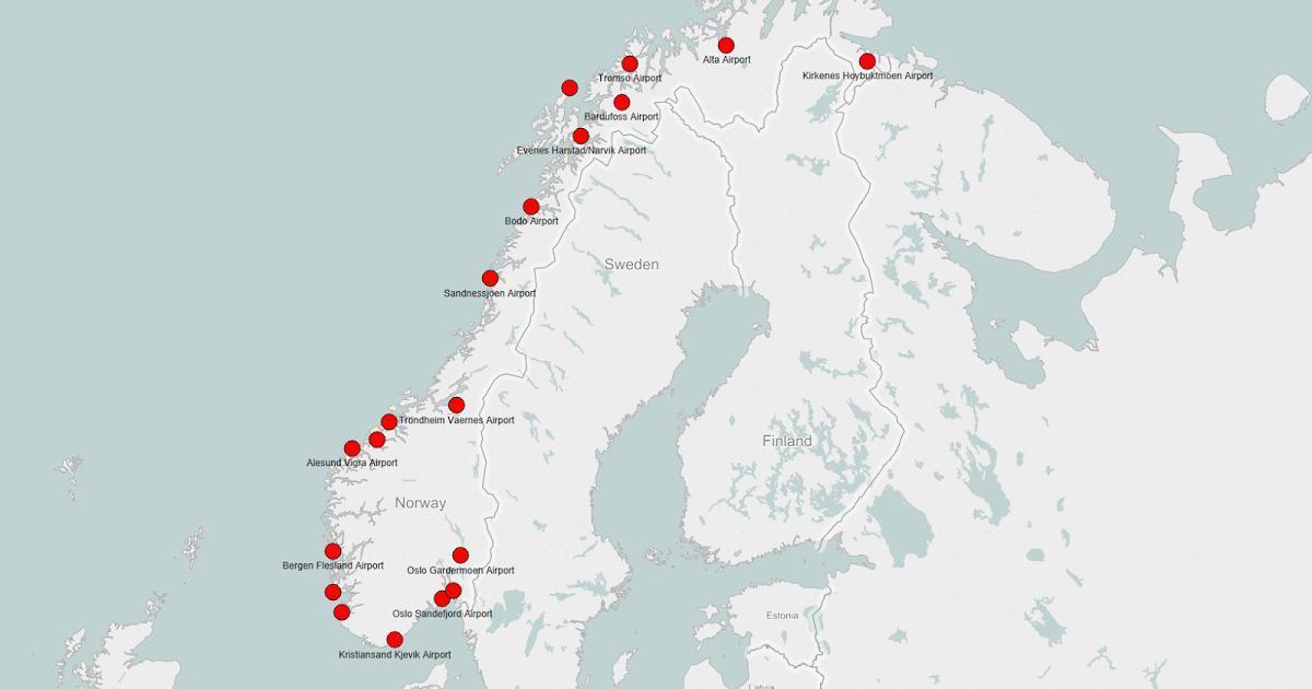 Norvegia Aeroporturi Hartă Harta Norvegia Aeroporturi Europa De